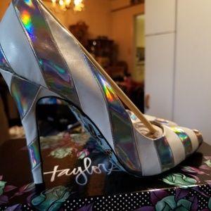 Taylor Says Miko Hologram Striped heels